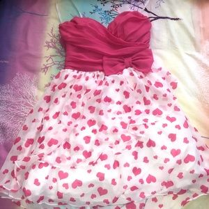 strapless pink hearts dress